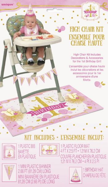 Pink & Gold 1st Birthday High Chair Decorating Kit